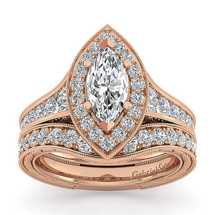 Vintage Inspired 14K Rose Gold Marquise Halo Diamond Engagement Ring