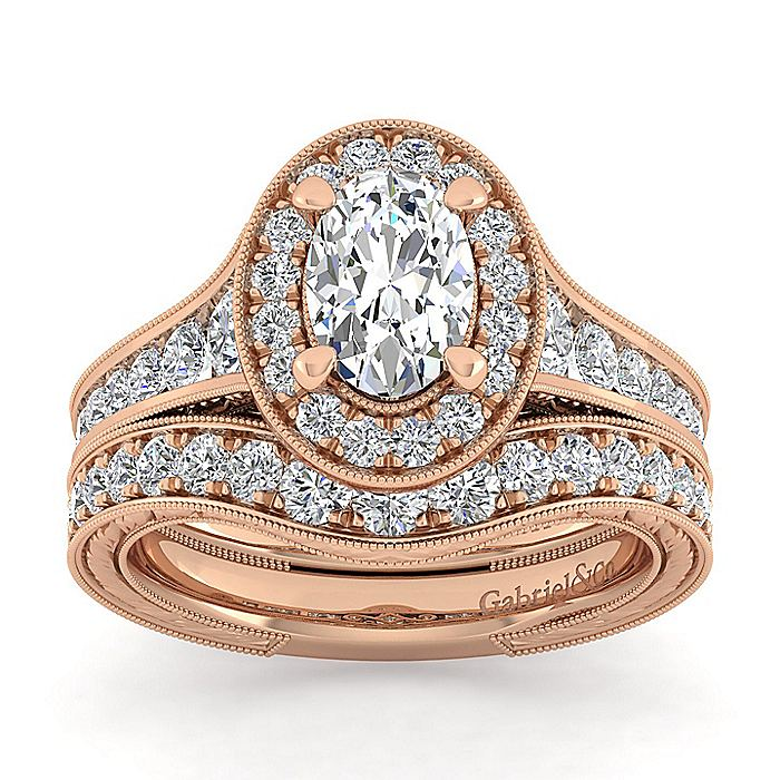 Vintage Inspired 14K Rose Gold Oval Halo Diamond Engagement Ring