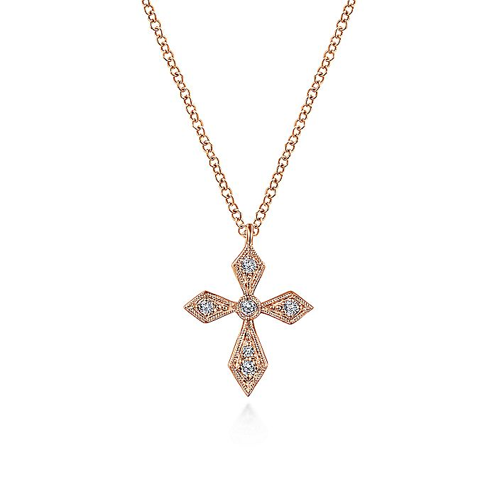 Vintage Inspired 14K Rose Gold Pointed Diamond Cross Pendant Necklace