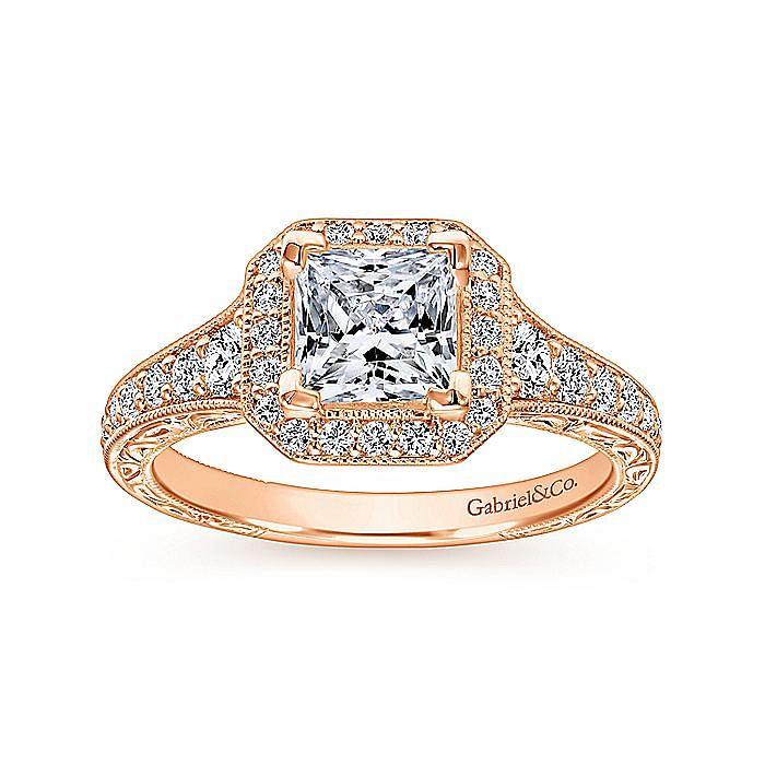 Vintage Inspired 14K Rose Gold Princess Halo Diamond Engagement Ring