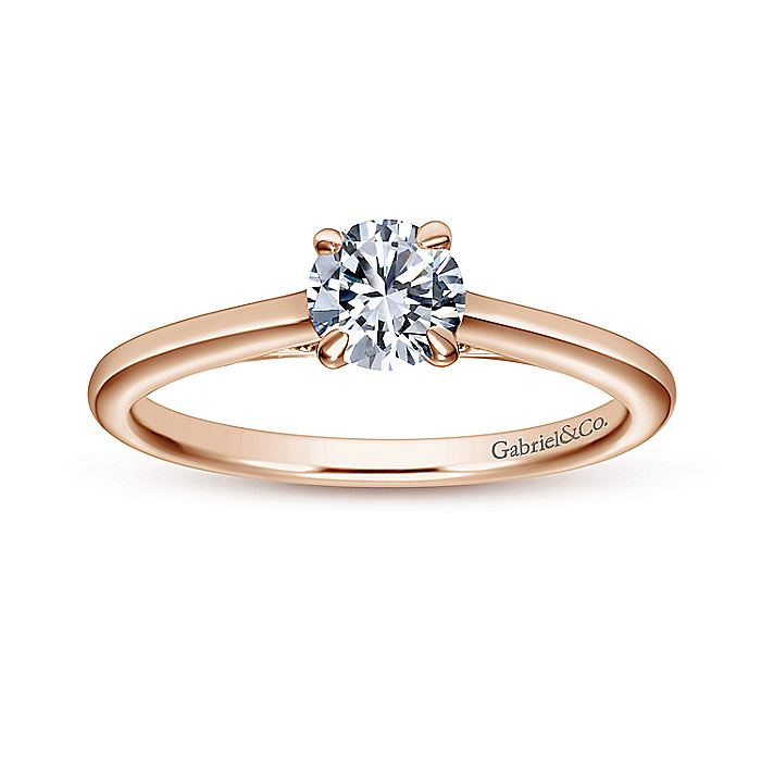 Vintage Inspired 14K Rose Gold Round Diamond Engagement Ring