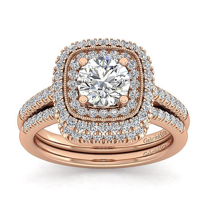 Vintage Inspired 14K Rose Gold Round Double Halo Diamond Engagement Ring