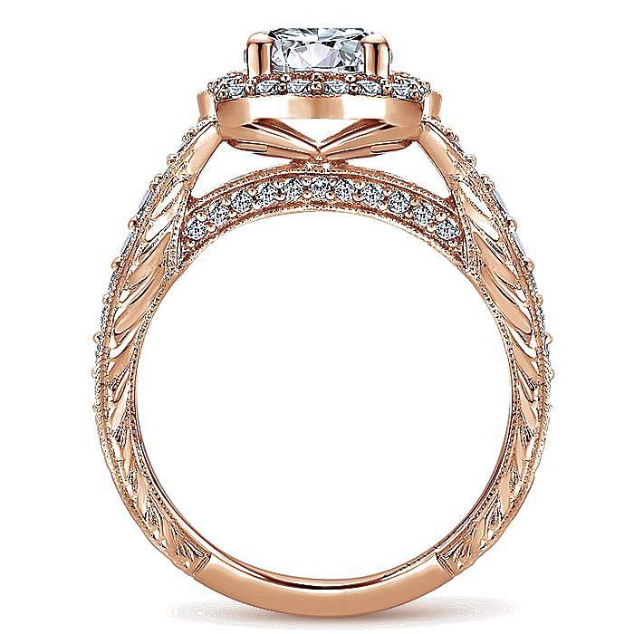Vintage Inspired 14K Rose Gold Round Halo Diamond Engagement Ring