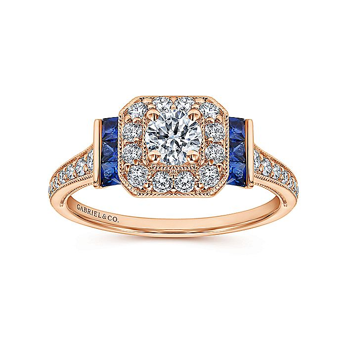 Vintage Inspired 14K Rose Gold Round Halo Diamond and Sapphire Engagement Ring