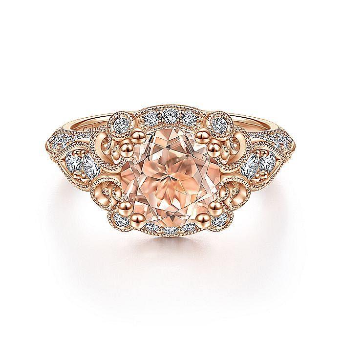 Vintage Inspired 14K Rose Gold Round Halo Morganite and Diamond Engagement Ring