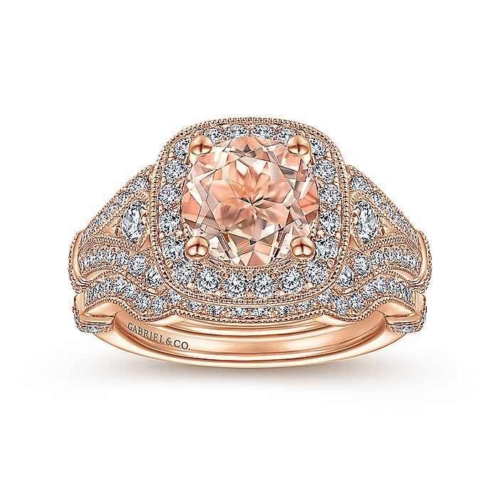 Vintage Inspired 14K Rose Gold Round Halo Morganite and Diamond Engagement Ring