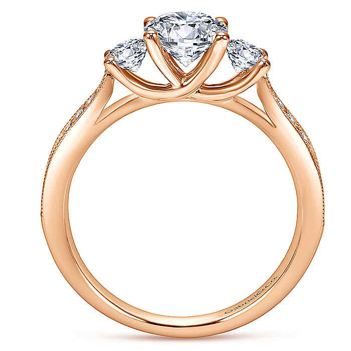 Vintage Inspired 14K Rose Gold Round Three Stone Diamond Engagement Ring
