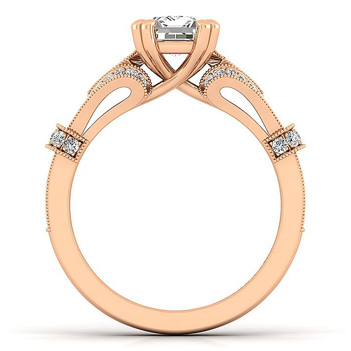 Vintage Inspired 14K Rose Gold Split Shank Emerald Cut Diamond Engagement Ring