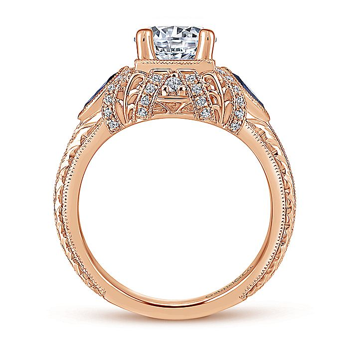Vintage Inspired 14K Rose Gold Three Stone Halo Diamond and Sapphire Engagement Ring