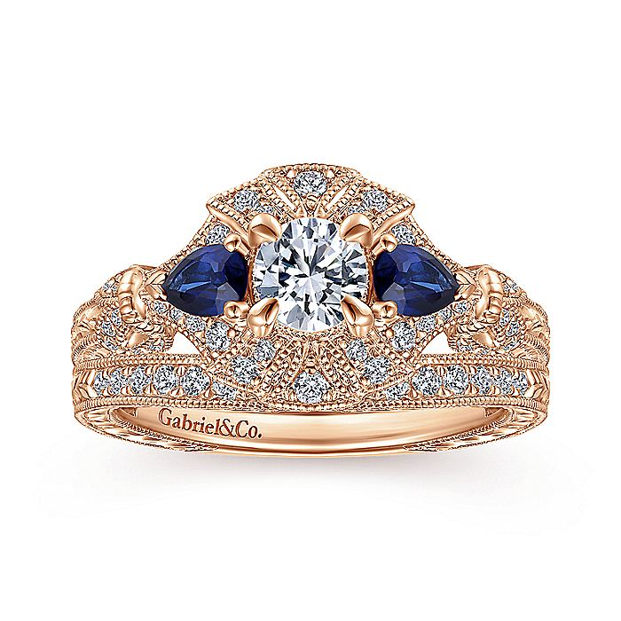 Vintage Inspired 14K Rose Gold Three Stone Halo Sapphire and Diamond Complete Engagement Ring