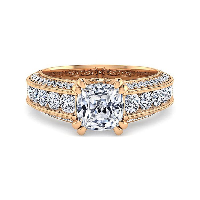 Vintage Inspired 14K Rose Gold Wide Band Cushion Cut Diamond Engagement Ring