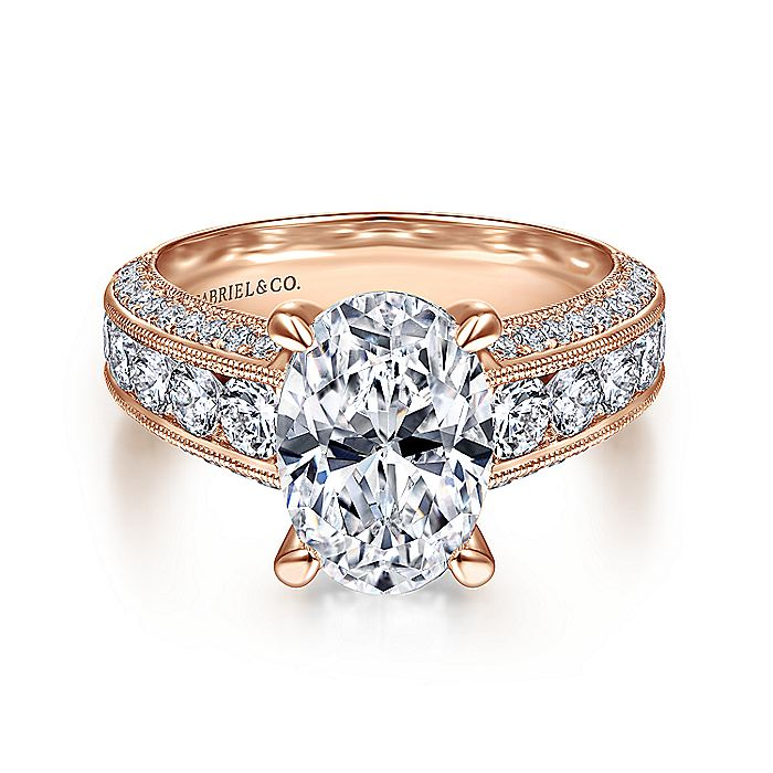 Vintage Inspired 14K Rose Gold Wide Band Oval Diamond Engagement Ring