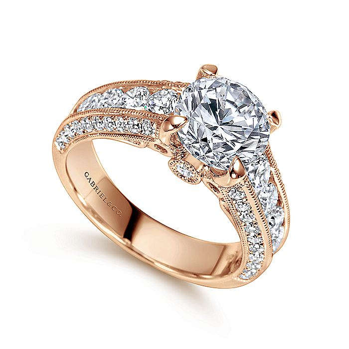 Vintage Inspired 14K Rose Gold Wide Band Round Diamond Engagement Ring