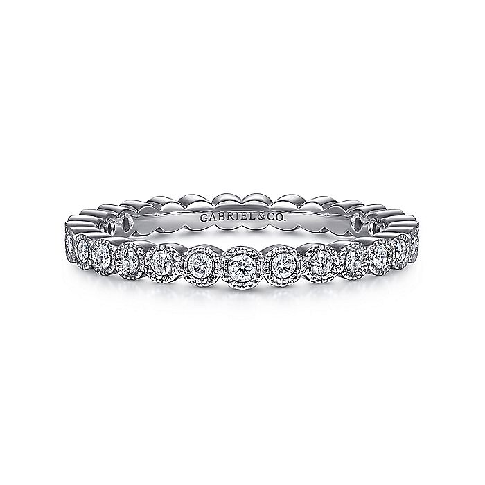 Vintage Inspired 14K White Gold Bezel Set Diamond Eternity Band