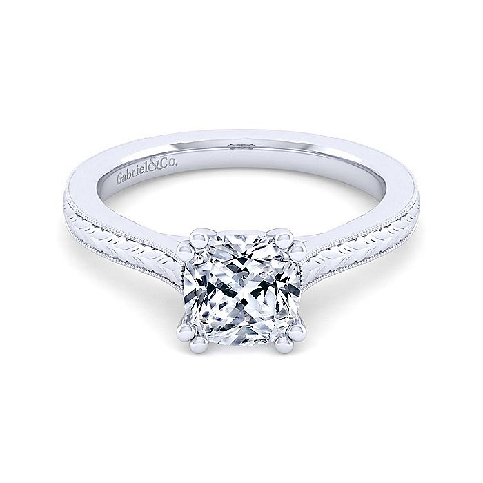 Vintage Inspired 14K White Gold Cushion Cut Solitaire Engagement Ring