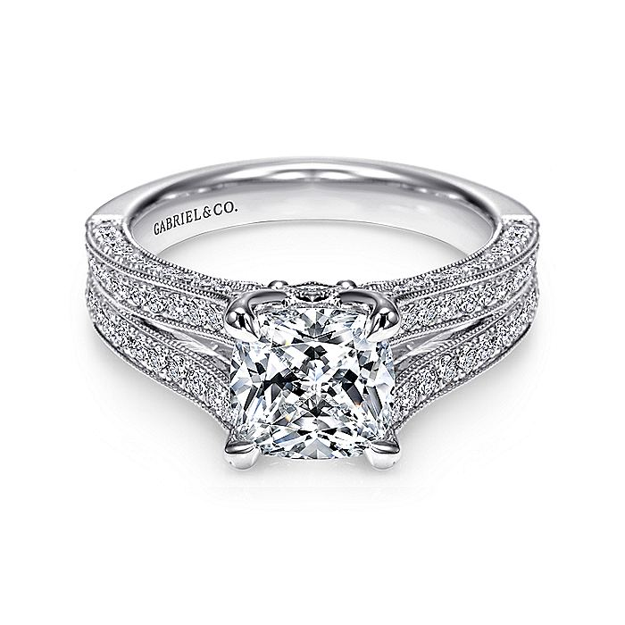 Vintage Inspired 14K White Gold Cushion Cut Split Shank Diamond Engagement Ring