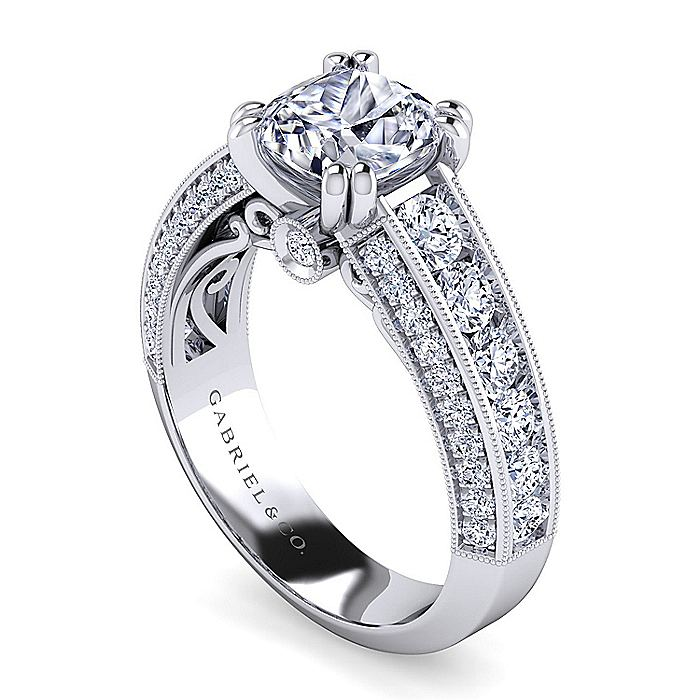 Vintage Inspired 14K White Gold Cushion Cut Wide Band Diamond Engagement Ring