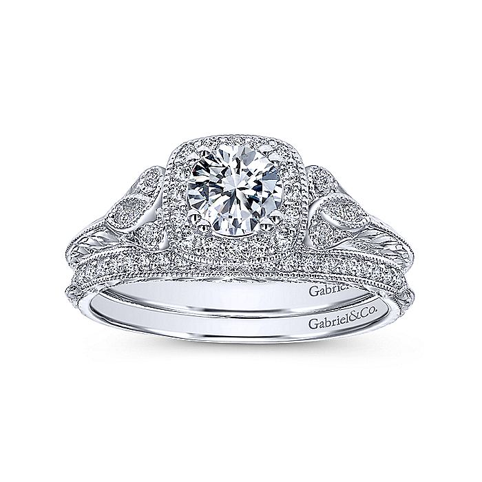 Vintage Inspired 14K White Gold Cushion Halo Round Complete Diamond Engagement Ring