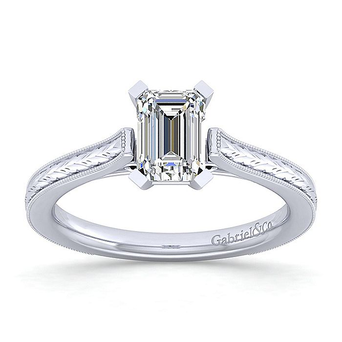 Vintage Inspired 14K White Gold Emerald Cut Solitaire Engagement Ring