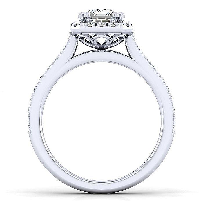 Vintage Inspired 14K White Gold Emerial Halo Diamond Engagement Ring
