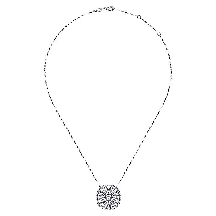 Vintage Inspired 14K White Gold Floral Diamond Pendant Necklace