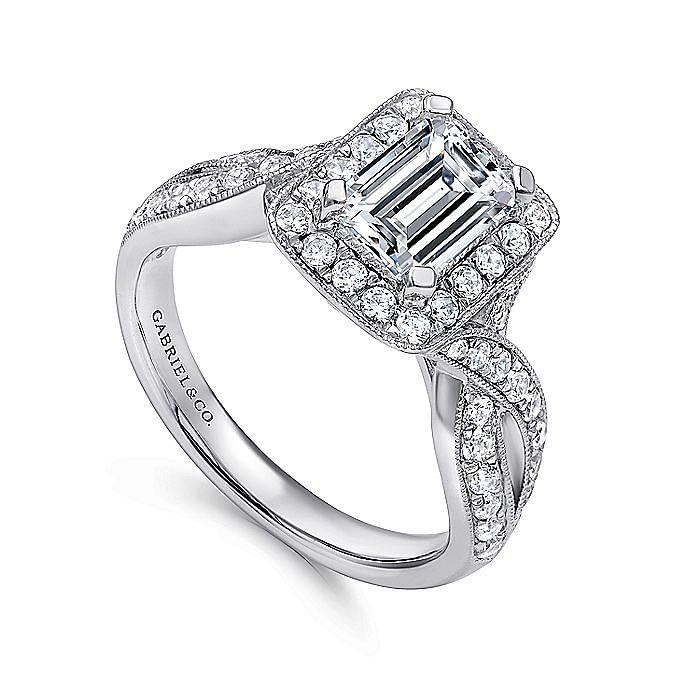 Vintage Inspired 14K White Gold Halo Emerald Cut Diamond Engagement Ring