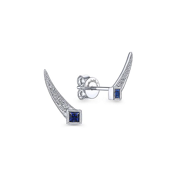 Vintage Inspired 14K White Gold Inspired Pavé Diamond and Princess Cut Sapphire Stud Earrings