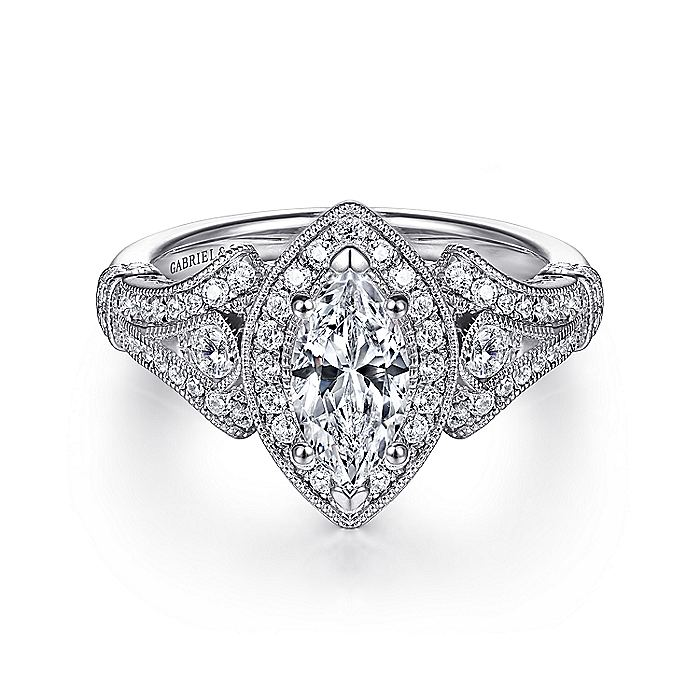 Vintage Inspired 14K White Gold Marquise Halo Diamond Engagement Ring