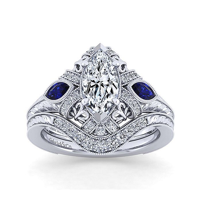 Vintage Inspired 14K White Gold Marquise Halo Three Stone Diamond and Sapphire Engagement Ring