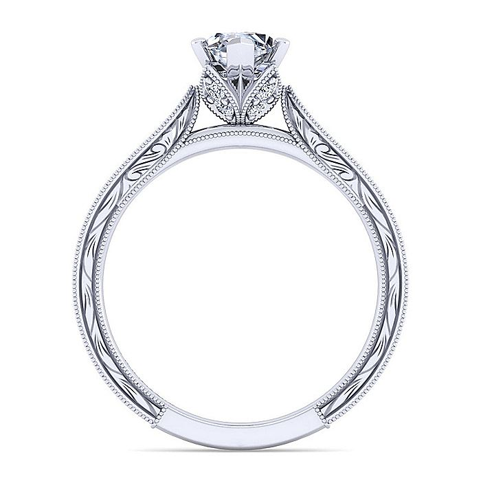 Vintage Inspired 14K White Gold Marquise Shape Diamond Engagement Ring