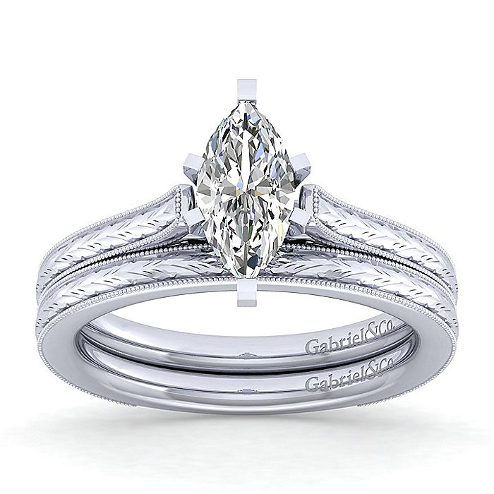 Vintage Inspired 14K White Gold Marquise Shaped Solitaire Engagement Ring