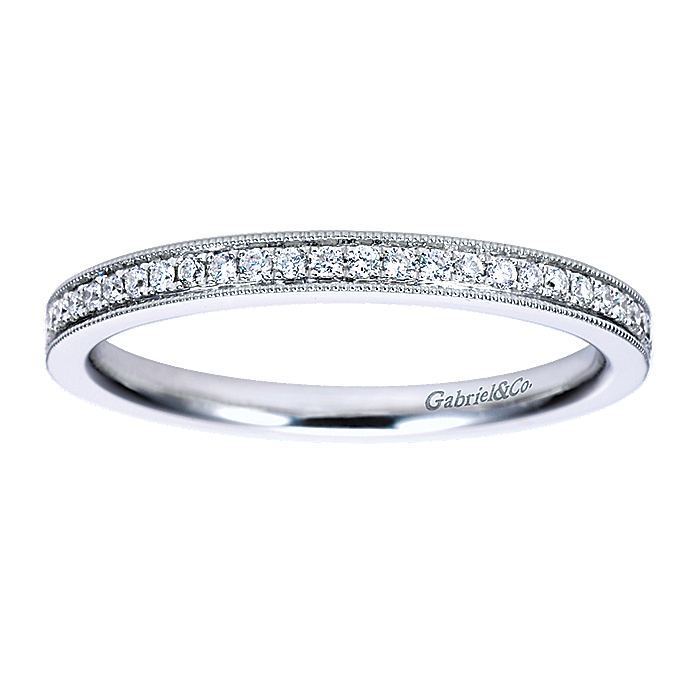 Vintage Inspired 14K White Gold Micro Pavé Diamond Wedding Band