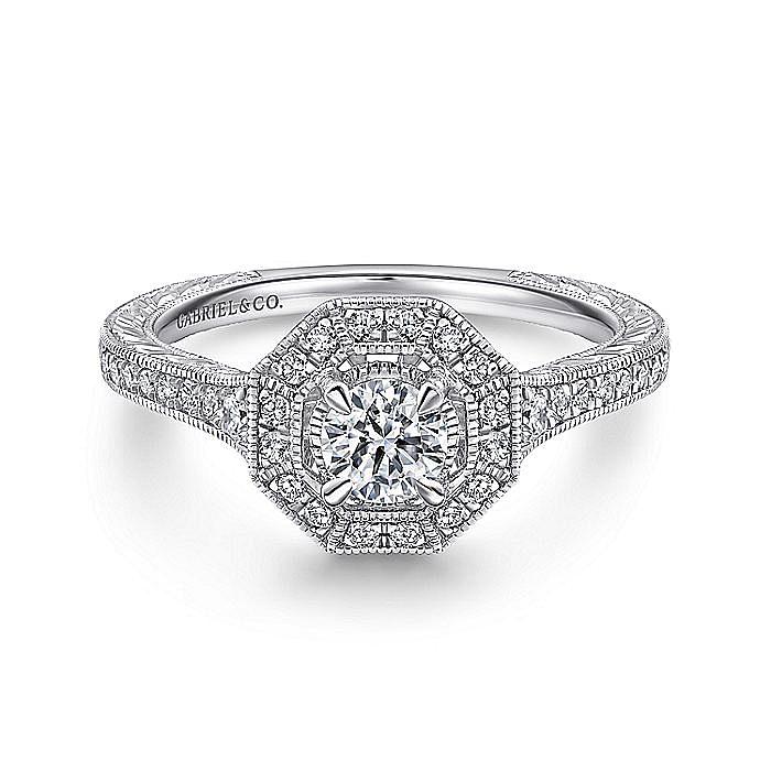Vintage Inspired 14K White Gold Octagonal Halo Diamond Engagement Ring