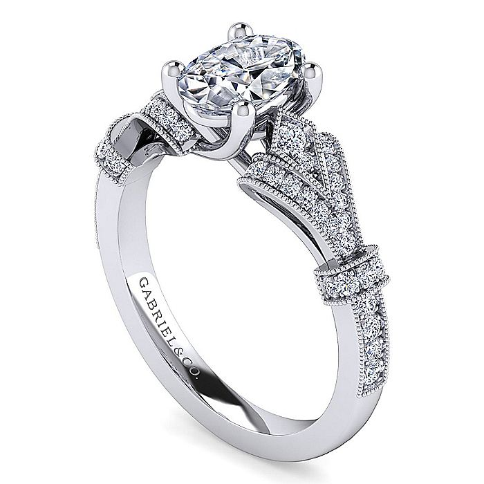 Vintage Inspired 14K White Gold Oval Diamond Engagement Ring