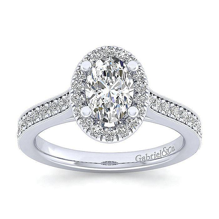 Vintage Inspired 14K White Gold Oval Halo Diamond Engagement Ring