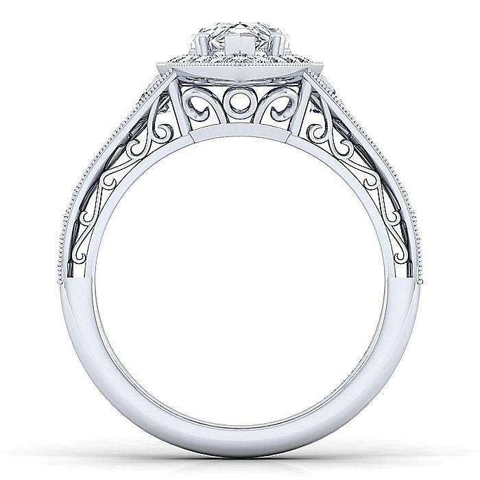 Vintage Inspired 14K White Gold Pear Shape Halo Diamond Engagement Ring