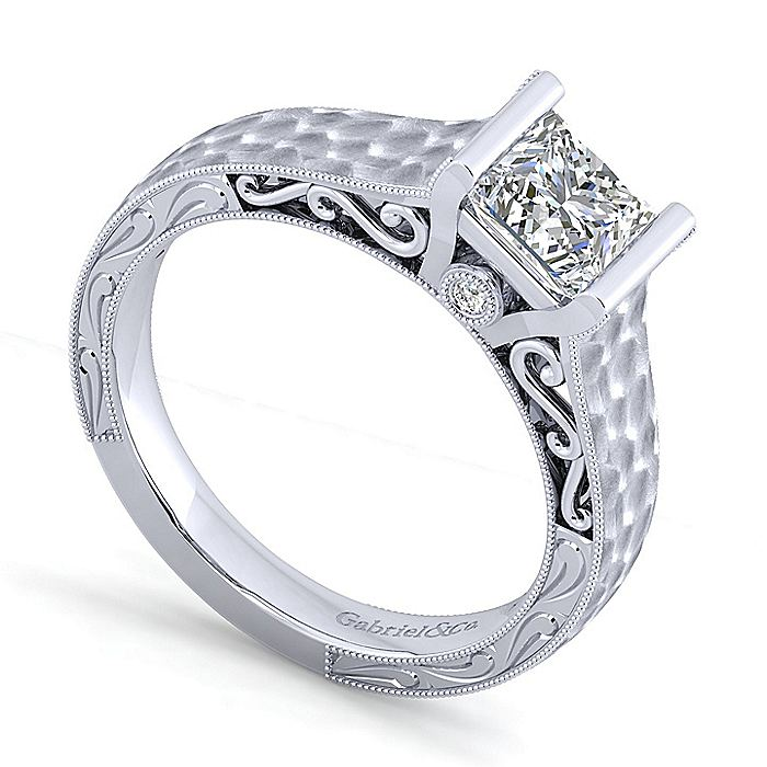 Vintage Inspired 14K White Gold Princess Cut Diamond Engagement Ring