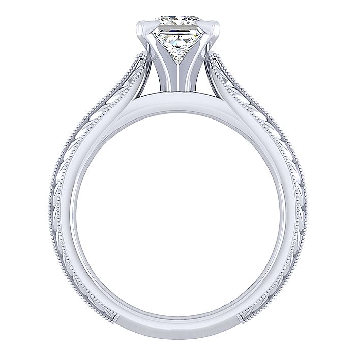 Vintage Inspired 14K White Gold Princess Cut Solitaire Engagement Ring