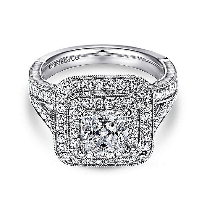 Vintage Inspired 14K White Gold Princess Double Halo Diamond Engagement Ring