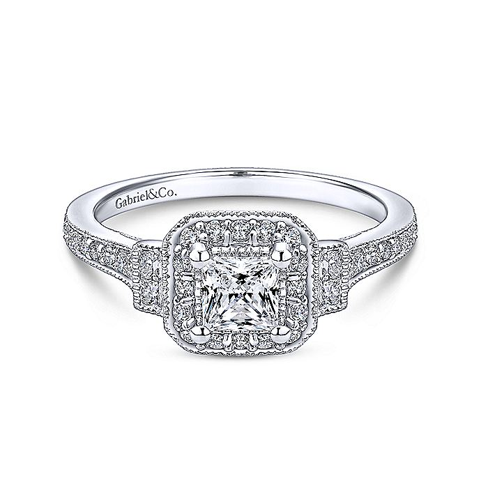 Vintage Inspired 14K White Gold Princess Halo Complete Diamond Engagement Ring