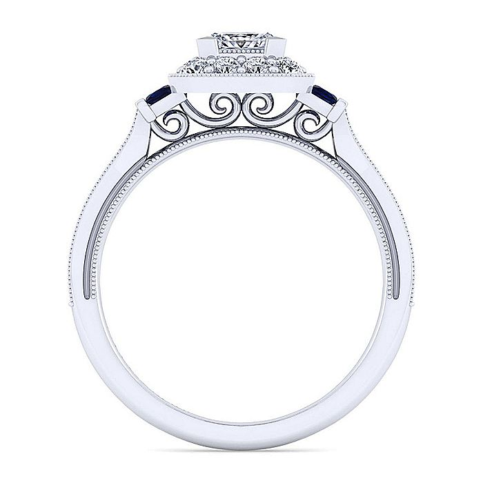 Vintage Inspired 14K White Gold Princess Halo Sapphire and Diamond Engagement Ring