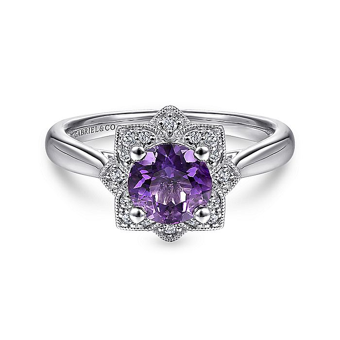 Vintage Inspired 14K White Gold Round Amethyst and Diamond Flower Ring