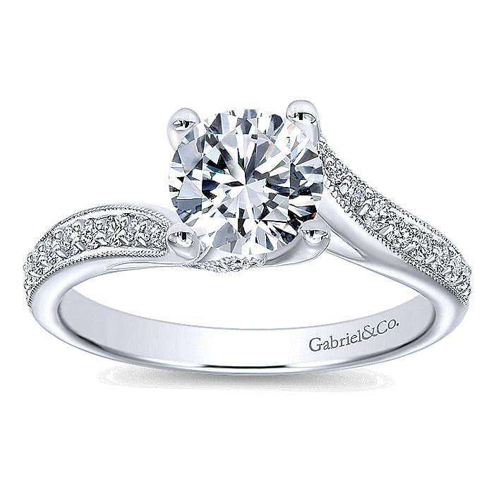 Vintage Inspired 14K White Gold Round Bypass Diamond Engagement Ring