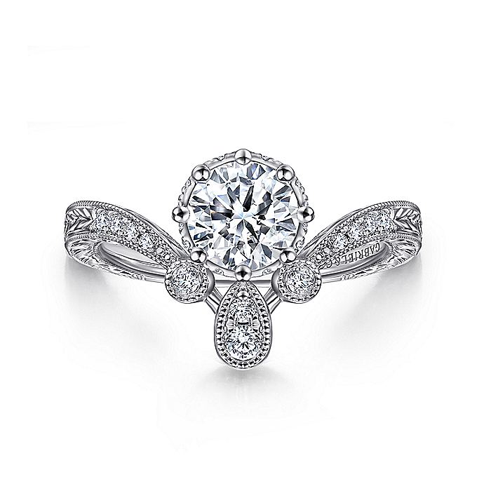 Vintage Inspired 14K White Gold Round Curved Diamond Engagement Ring
