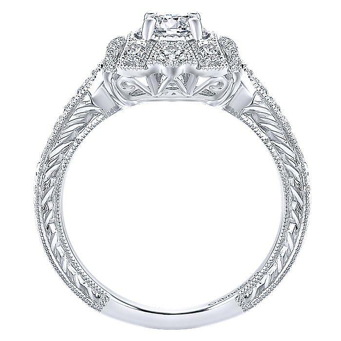Vintage Inspired 14K White Gold Round Halo Diamond Engagement Ring