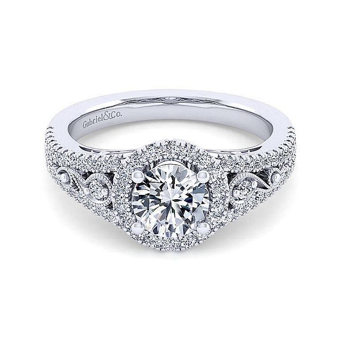 Vintage Inspired 14K White Gold Round Halo Diamond Engagement Ring