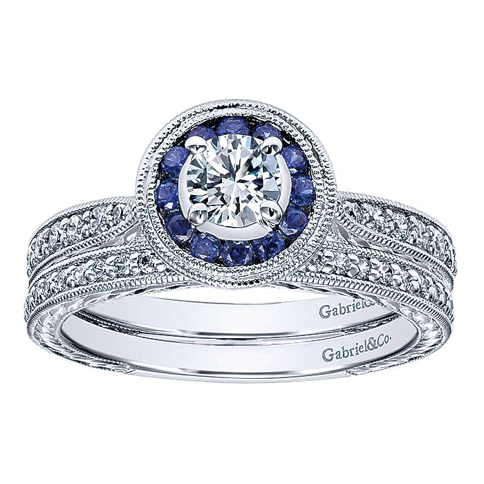 Vintage Inspired 14K White Gold Round Halo Sapphire and Diamond Engagement Ring
