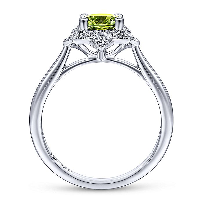 Vintage Inspired 14K White Gold Round Peridot and Floral Diamond Halo Ring