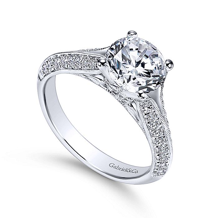 Vintage Inspired 14K White Gold Round Split Shank Diamond Engagement Ring