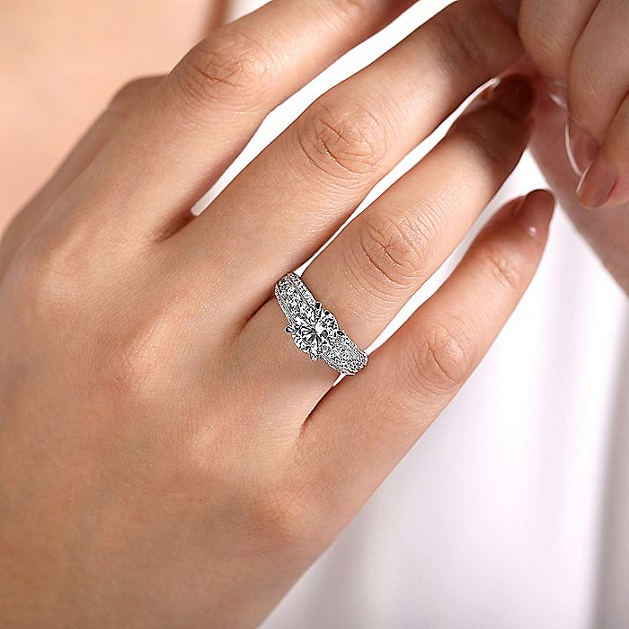 Vintage Inspired 14K White Gold Round Wide Band Diamond Engagement Ring
